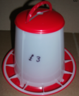 Red & White Poultry Feeder. 500grams